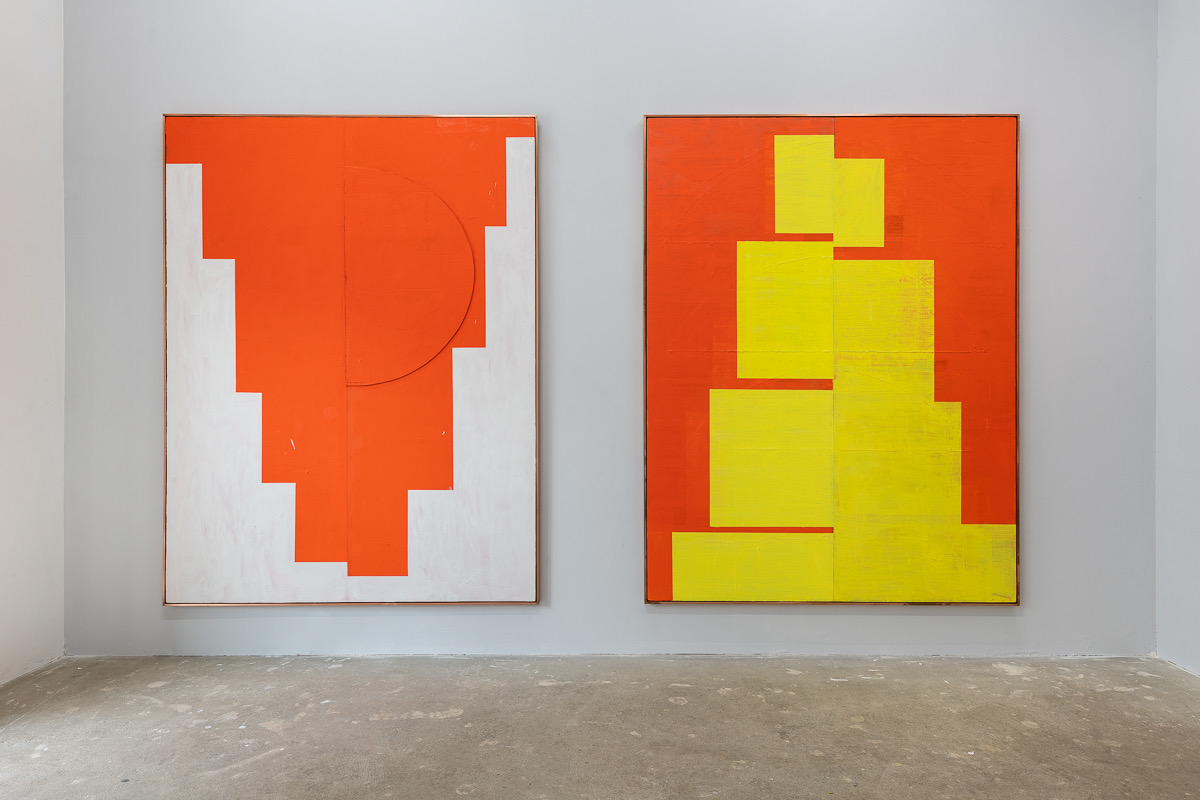 Shaan Syed, Double Minaret (With Applied Half-Disc) and Minaret (yellow red), 2017 / 2020